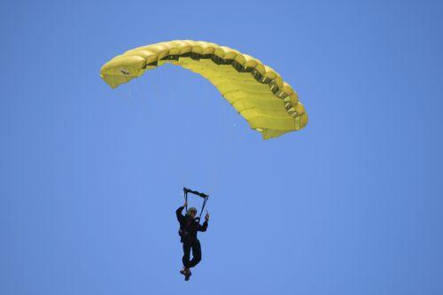 Parachutist With Yellow Parachute