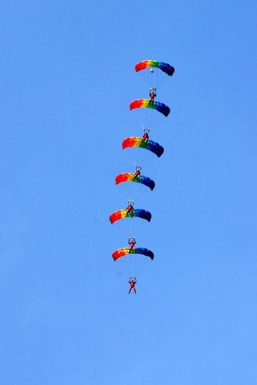 parachutists sports group jump
