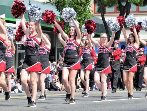 parade cheerleaders pumpkins
