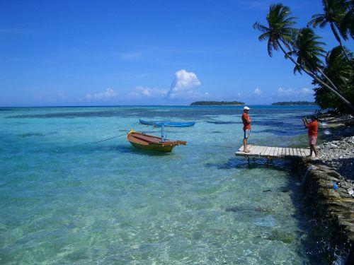 paradise ship blue sea