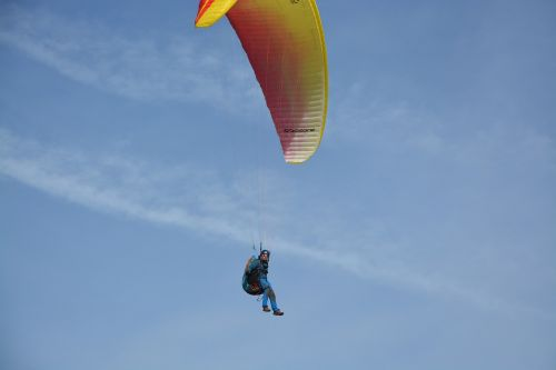 paragliders leisure sports practice in free flight