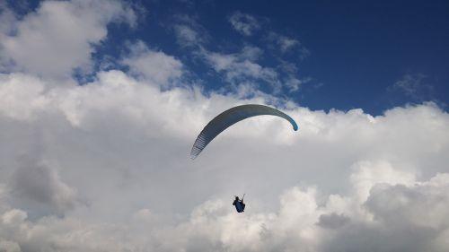 paragliding clouds beach