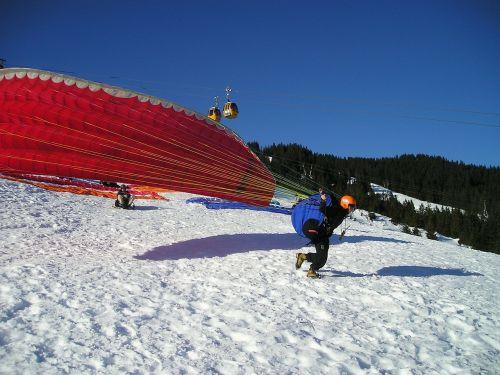 paragliding start elevator phase