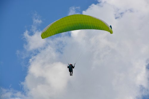 paragliding  paraglider  veil yellow green