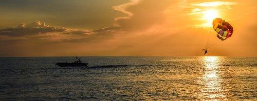 parasailing  sunset  dusk