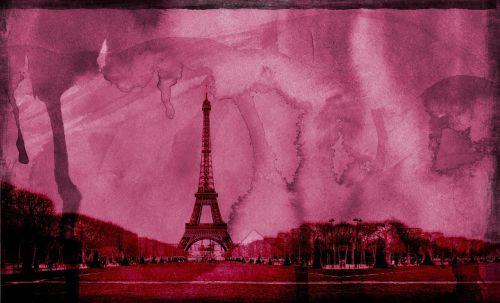 paris pink eiffel tower