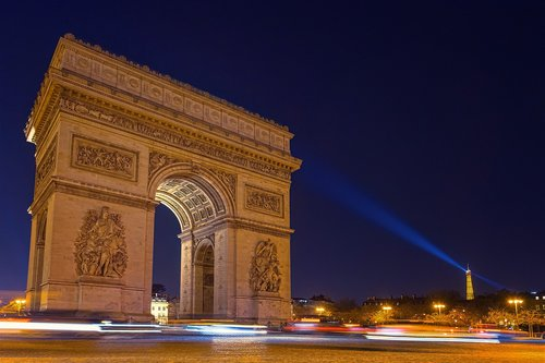 paris  arc de triomphe  night