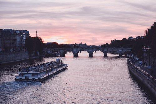 paris  sunset  boat