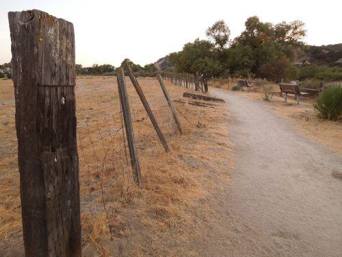 park path broken fence