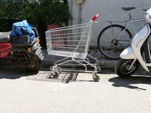 park parking shopping cart