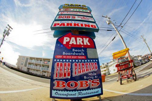 parking sign atlantic city fisheye