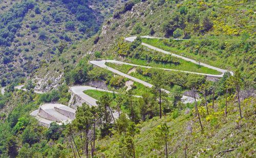 pass road mountain range serpentine