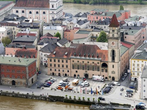 passau town hall square bank of the danube