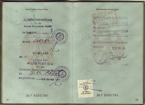 passport visa ddr