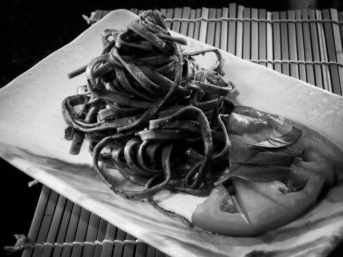 pasta black and white pesto