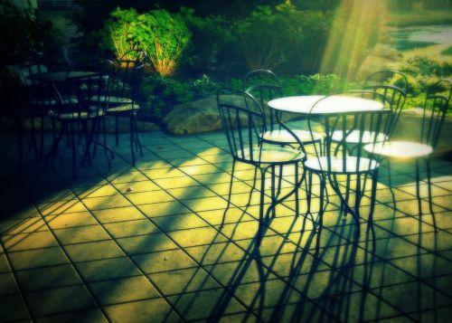 terasa,rytas,kėdės,lauke,stalas,lauke,atsipalaiduoti,baldai,kėdė,denio,lauke