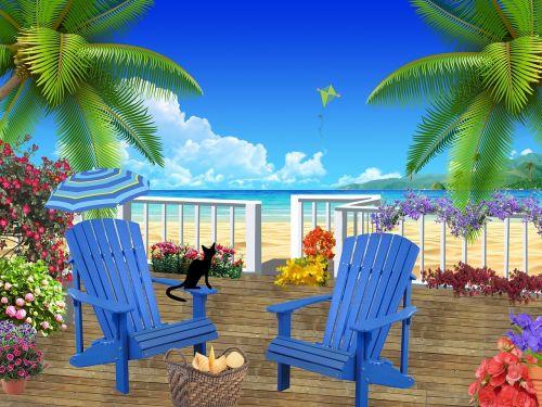 patio ocean summer