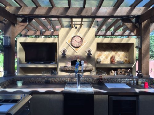 patio cover outdoor kitchen tile