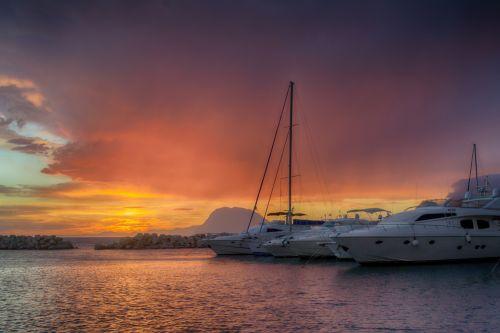 Patra Port Seascape At Sunset