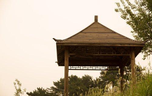 pavilion  twilight  bleak