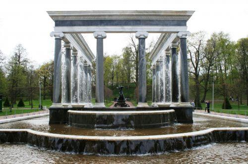 stulpai, tvenkinys, žingsniai, vanduo, teka, nuleidimas, paviljonas, tvenkinys ir fontanai
