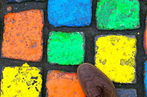 paving stones pedestrian zone shoe