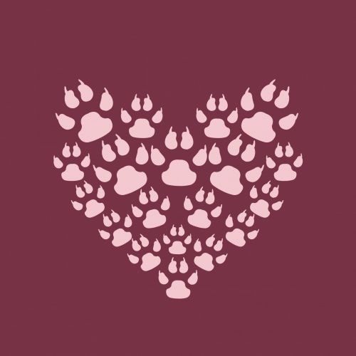 Paw Print Heart Background