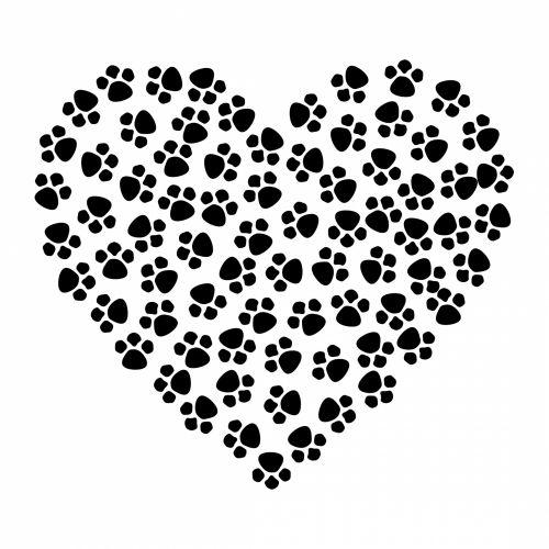Paw Prints Heart Black