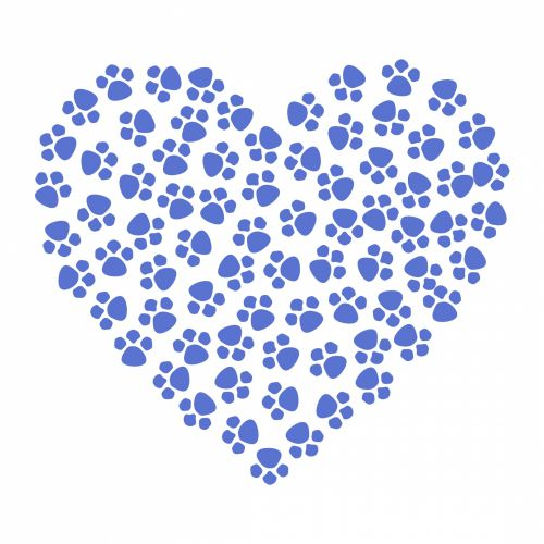 Paw Prints Heart Blue