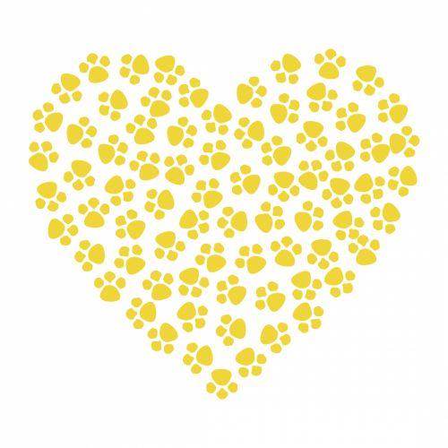 Paw Prints Heart Gold