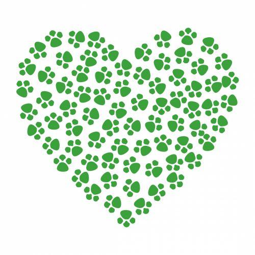 Paw Prints Heart Green