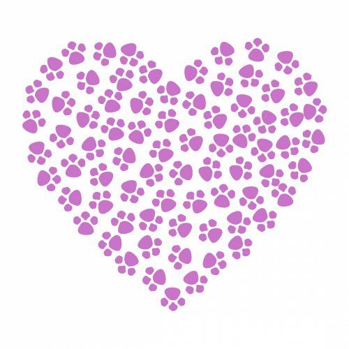 Paw Prints Heart Lavender