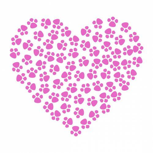 Paw Prints Heart Pink