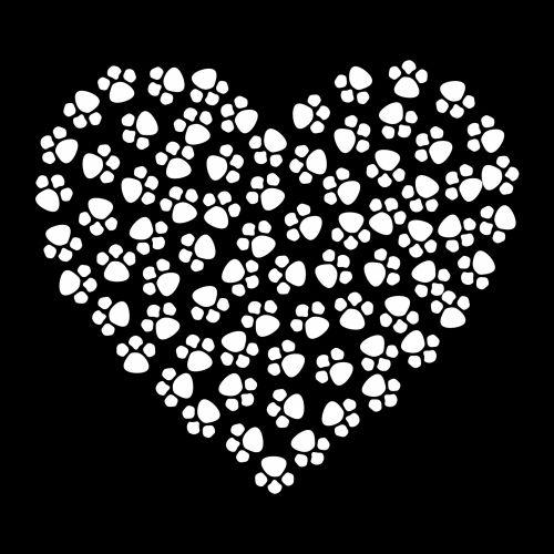 Paw Prints Heart White