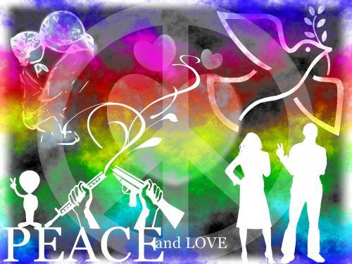 fonas, kortelė, plakatas, taika, laisvė, gyvūnai, paukščiai, žmonės, motina, vaikas, moteris, vyras, simbolis, gėlės, sauermann, taika meilės laisvė 2