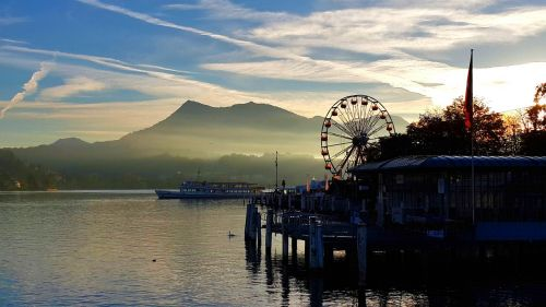 peaceful sunset lake lucerne