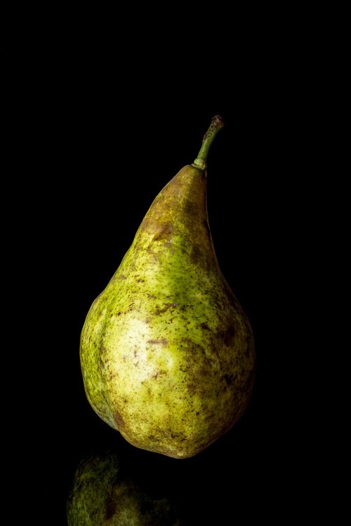 pear isolated  isolated  on black background