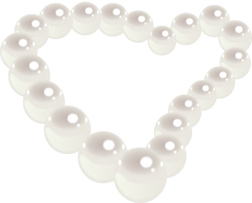 pearl necklace heart jewel