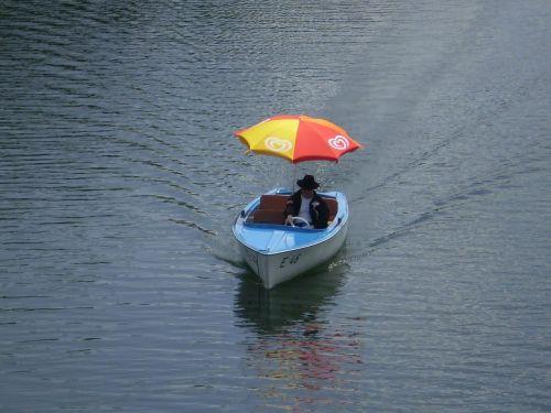 pedal boat parasol river