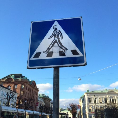 pedestrian crossing road sign sticker