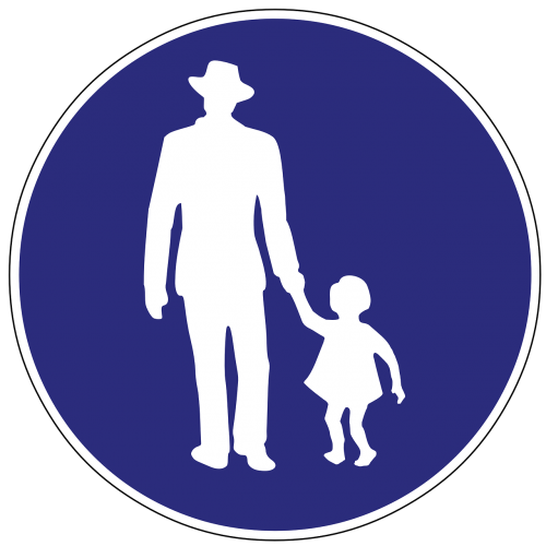 pedestrian crossing sign signage