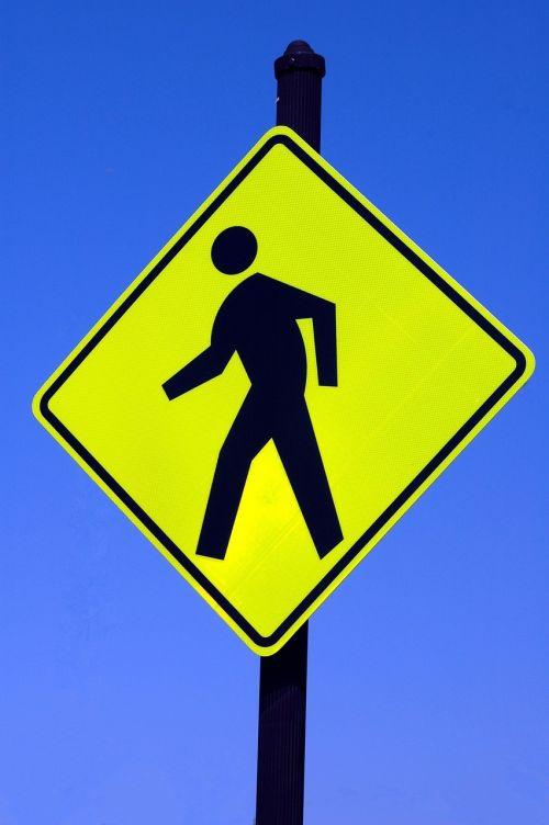 pedestrian sign walking caution