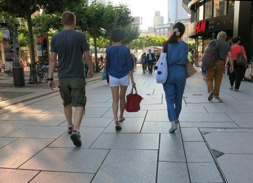 pedestrian zone shopping summer