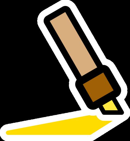 rašiklis,žymeklis,geltona,veltinio rašiklis,biuras,nemokama vektorinė grafika