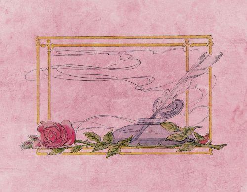 rašiklis, verda, plunksna, plunksnų & nbsp, rašiklis, rėmas, rožė, gėlė, romantiškas, vintage, senas, fonas, susikrimtęs, meilė, rožinis, kortelė & nbsp, Scrapbooking, Laisvas, viešasis & nbsp, domenas, rašiklis & amp, kalimo rėmas
