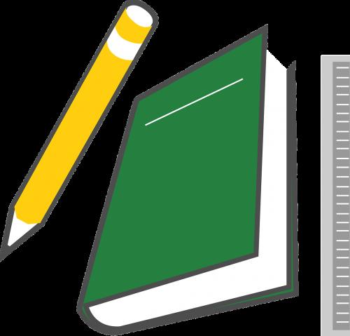 pencil book ruler
