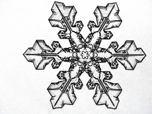 pencil drawing snowflake ice crystal