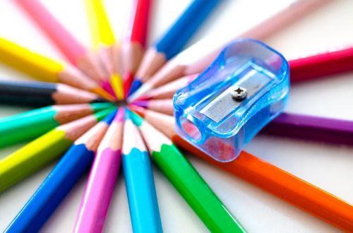 pencils colorful sharpener