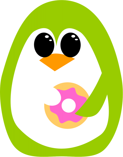 penguin green donut