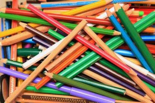 pens mess colored pencils